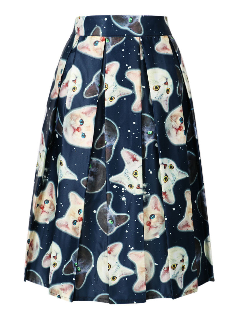 DayLook 2016 Cute Cat Print Elastic High Waist Skater Vintage Pleated Midi Skirts Ball Gown Knee-Length Skirt Zipper 3 Colors