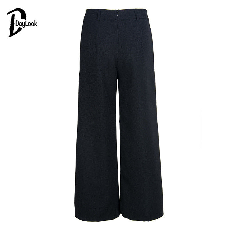 DayLook 2016 Summer Casual Style Women Fashion High Waist Full Length Pants Black&Brown Tie Waist Wide Leg Palazzo Harem Pants