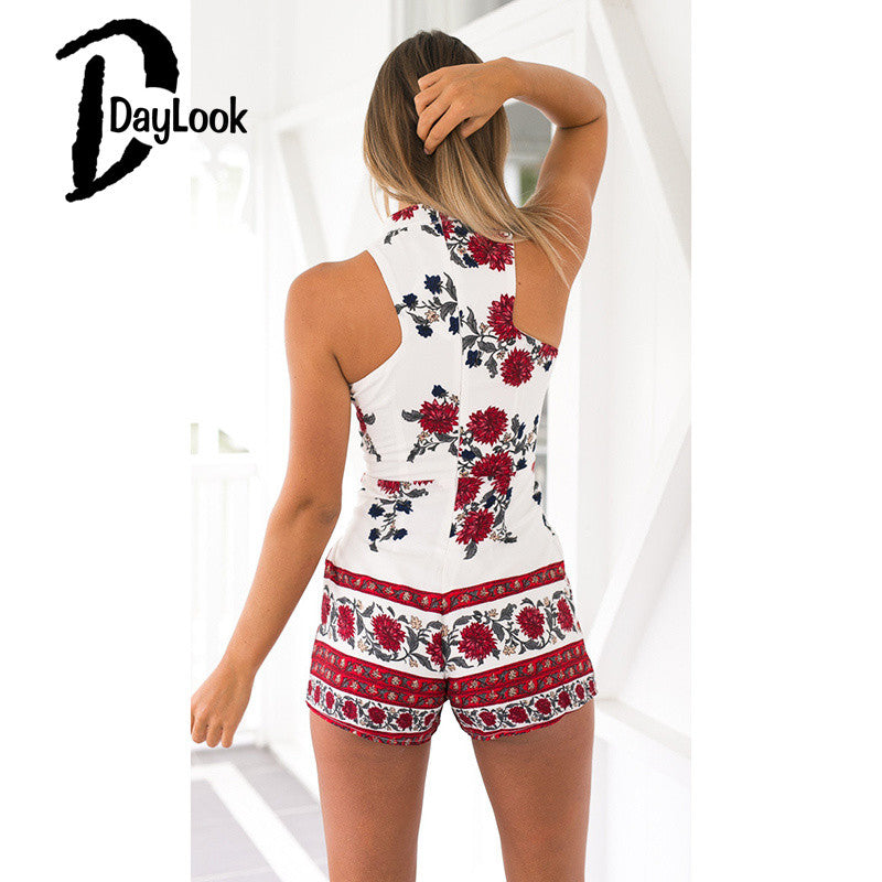 DayLook 2016 Summer Style High Waist Rompers Womens Jumpsuit Floral Print High Neck Plunge Elegant Playsuit African Print Shorts