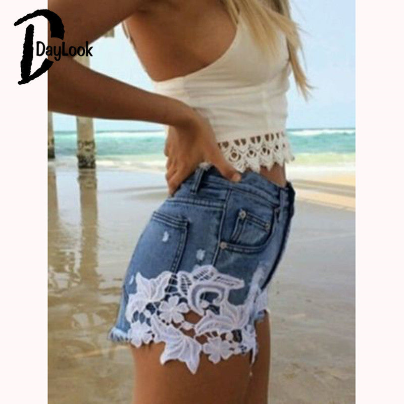 DayLook 2016 Summer Style Women Low Waist Jeans Shorts Lace Floral Button Ripped Denim Shorts Mini Hollow Out Short Feminino