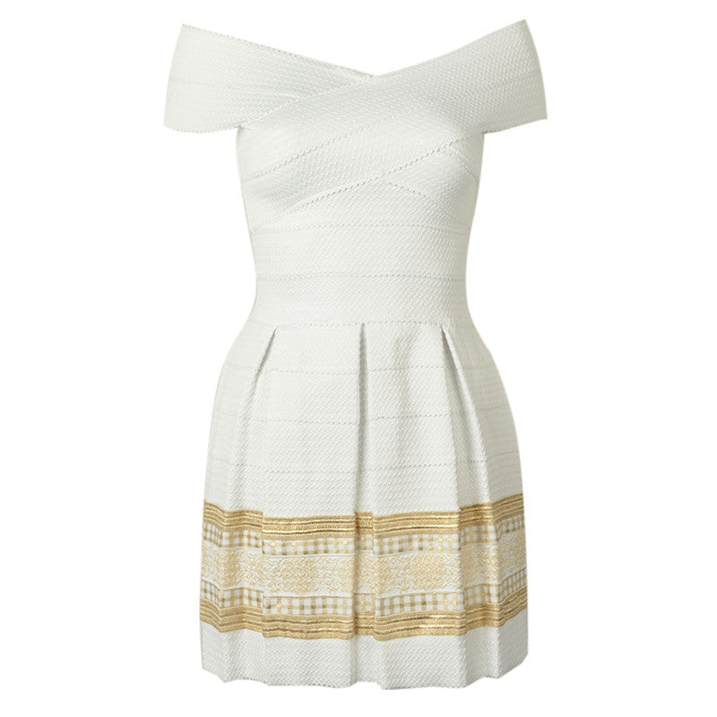 DayLook Bodycon Dress Mini Off Shoulder Gold Foil Print Textured Bandage Dress Pleated Party Queen Vestidos Autumn Dress