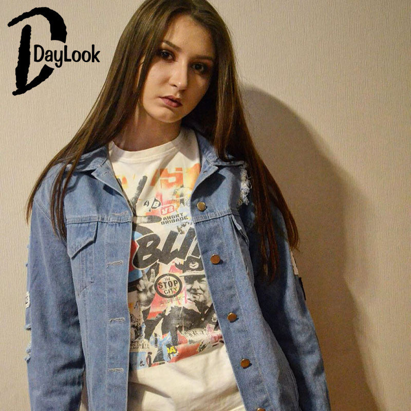 Daylook 2017 Hot Sale Light Blue Letter Patch Ripped Pockets Denim Coat Women Casual Summer Style Fashion Wear Plus Size S-XL