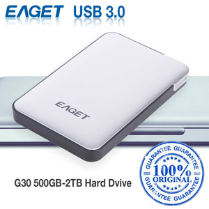 EAGET G30 Original 500GB 2TB External Hard Drives HDDs USB 3.0 High-Speed Shockproof Encryption Desktop Laptop Mobile Hard Disk