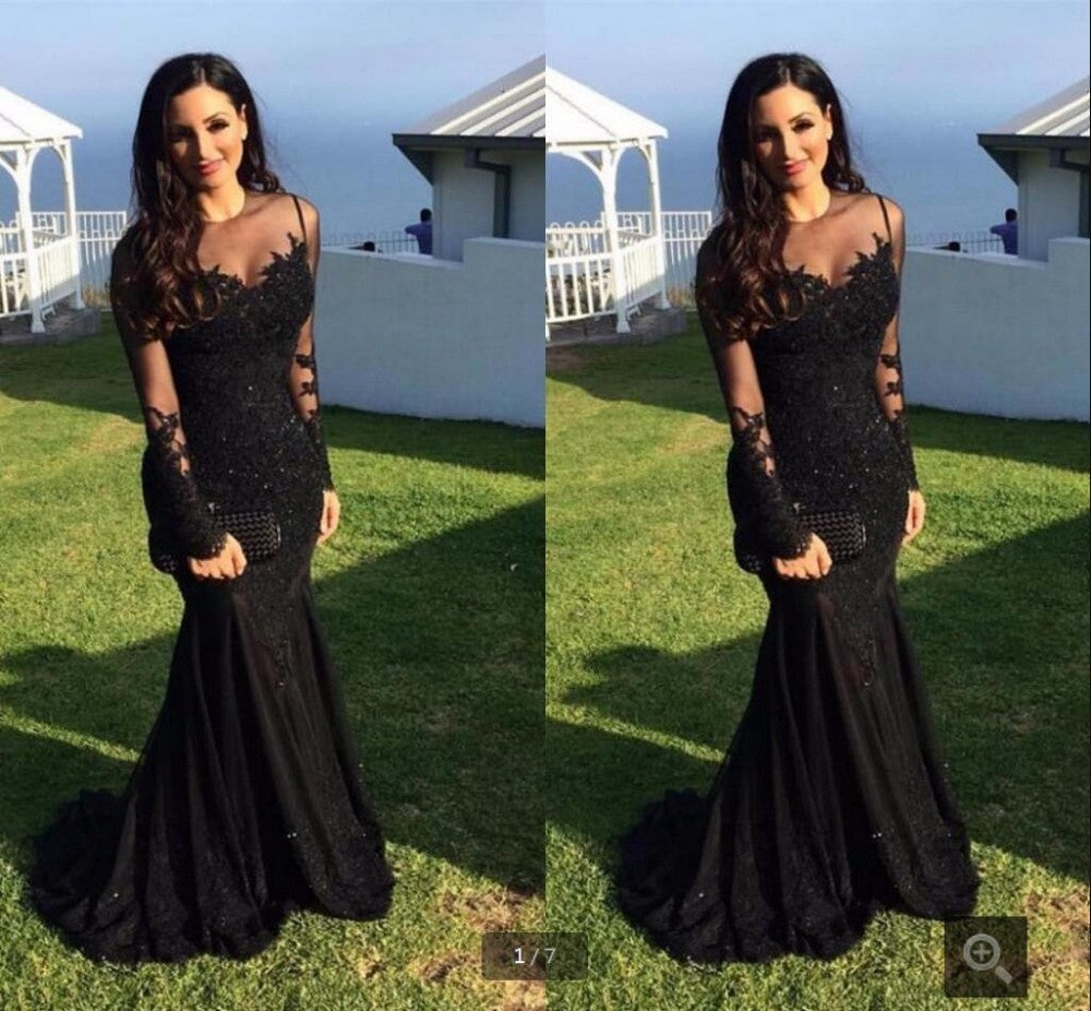 d37d1b7572 Elegant new design mermaid black lace appliques prom dress long sleeve  beaded sequins prom gowns formal