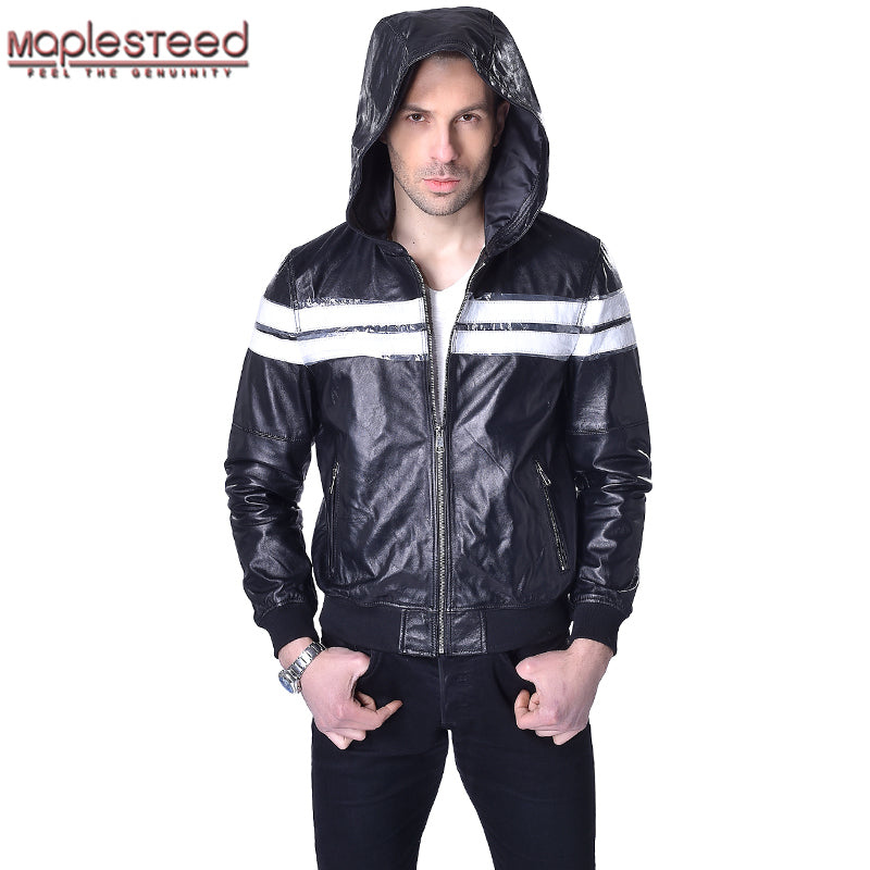f34dcee8eca Factory Sheepskin Hooded Leather Jackets Men Genuine Leather Jacket Hoodie  Black Soft Thin Mens Hooded Leather