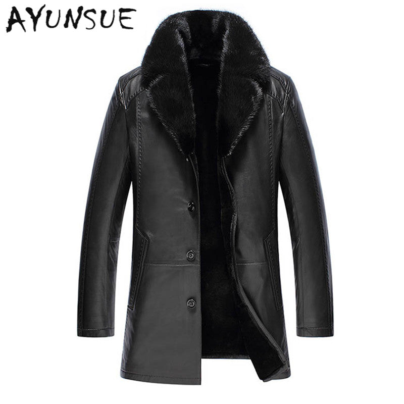 2ea493beacb Fashion Black Men Genuine Leather Jacket Men Thick Sable Fur Collar  Sheepskin Leather Jacket Down Winter