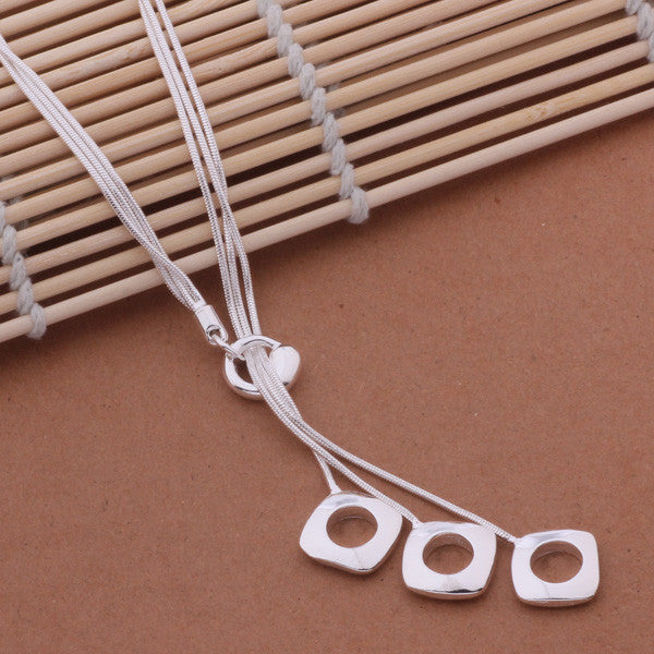 Fashion Elegant Ladies Necklace 925 Hollow Square Pendant Long Necklace Mulit Chain Silver Plated Jewelry Loving Gift AN441