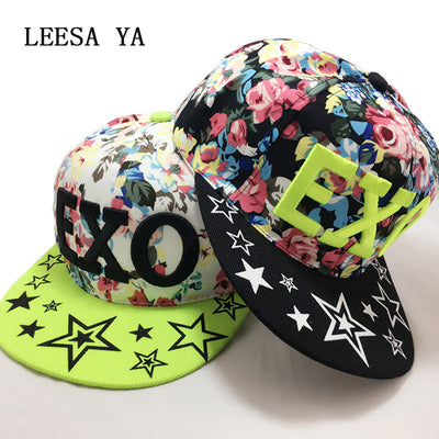 0fa9c05bc23 Floral Print Baseball Cap Girl Woman Flowers Hip Hop Caps Snapback Wholesale  Fashion Women Leisure Embroidery