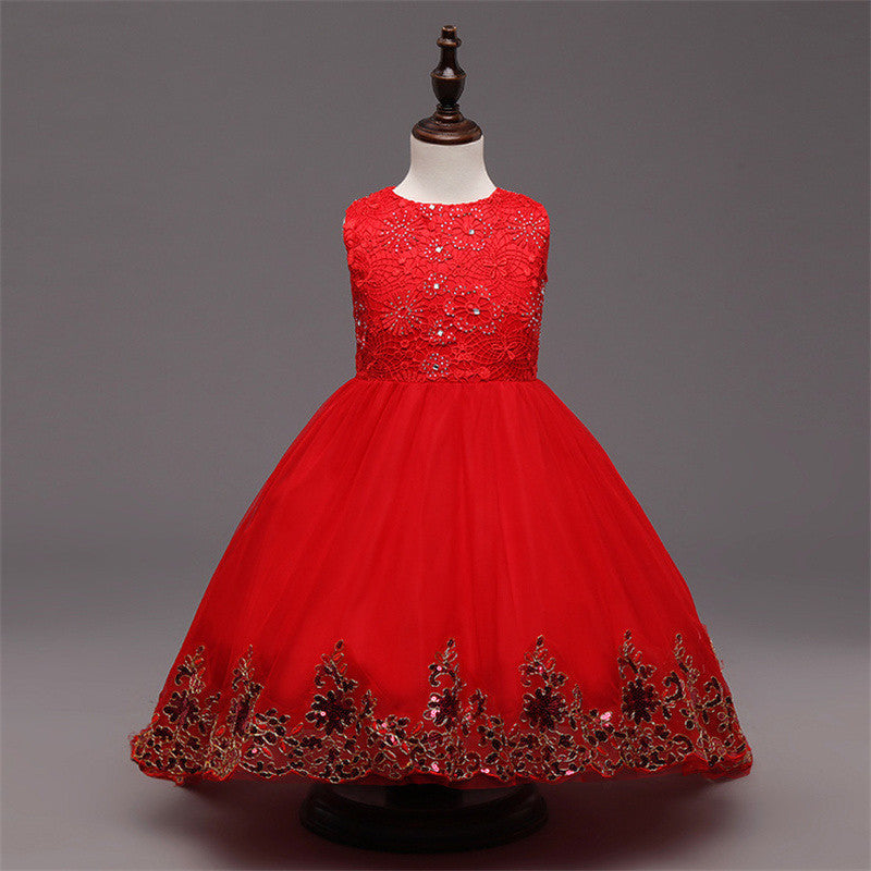 Flower Girl Dress Children Red Mesh Trailing Butterfly Girls Dress