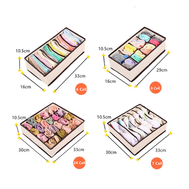 Foldable Non-Woven Storage Boxes Set  Bra Socks Draw Divider Container For Underwear Organizer