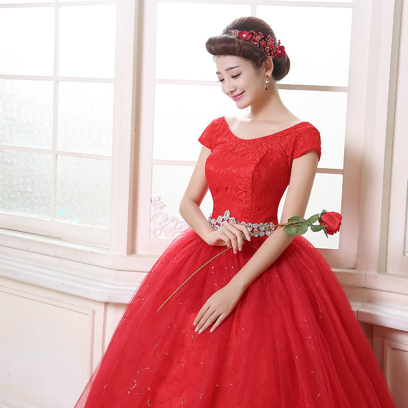 Free shipping red wedding dress 2015 white plus size lace Vestidos De