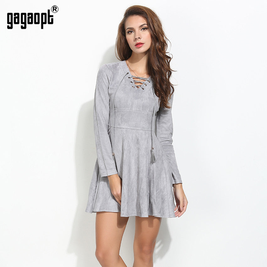 Gagaopt 2016 Spring Dress Sexy Lace Up V-neck Princess Women Dresses Winter Party Dress Longsleeve Female Vestidos Robes