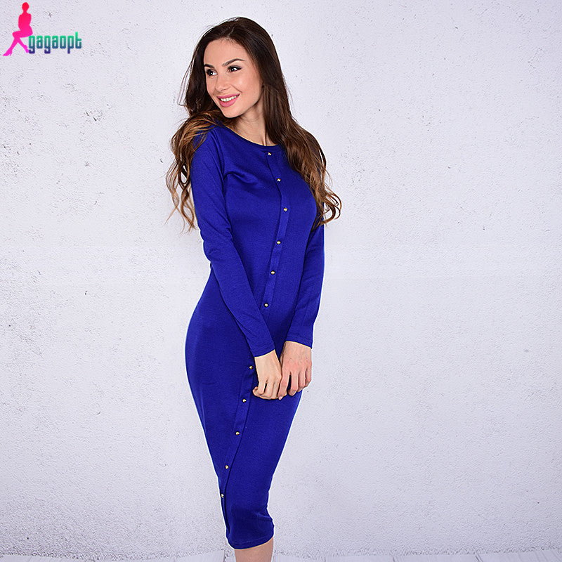 Gagaopt 2017 Autumn Dress Knitted Dresses Knee-Length Long Sleeve Blue Long Dresses Slim Winter Office Dress Robes Vestidos
