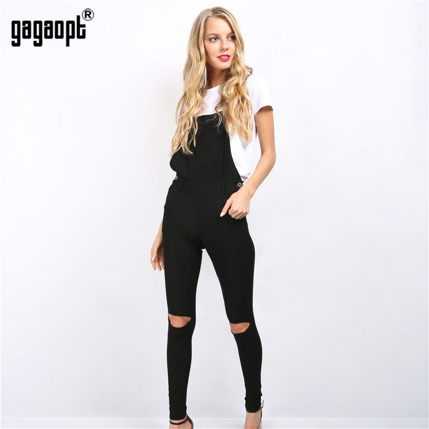 Gagaopt 2017 Autumn Rompers Women Jumpsuit Back Across Pants with Hole Strap Rompers Black Bodysuit With Pocket Macacao