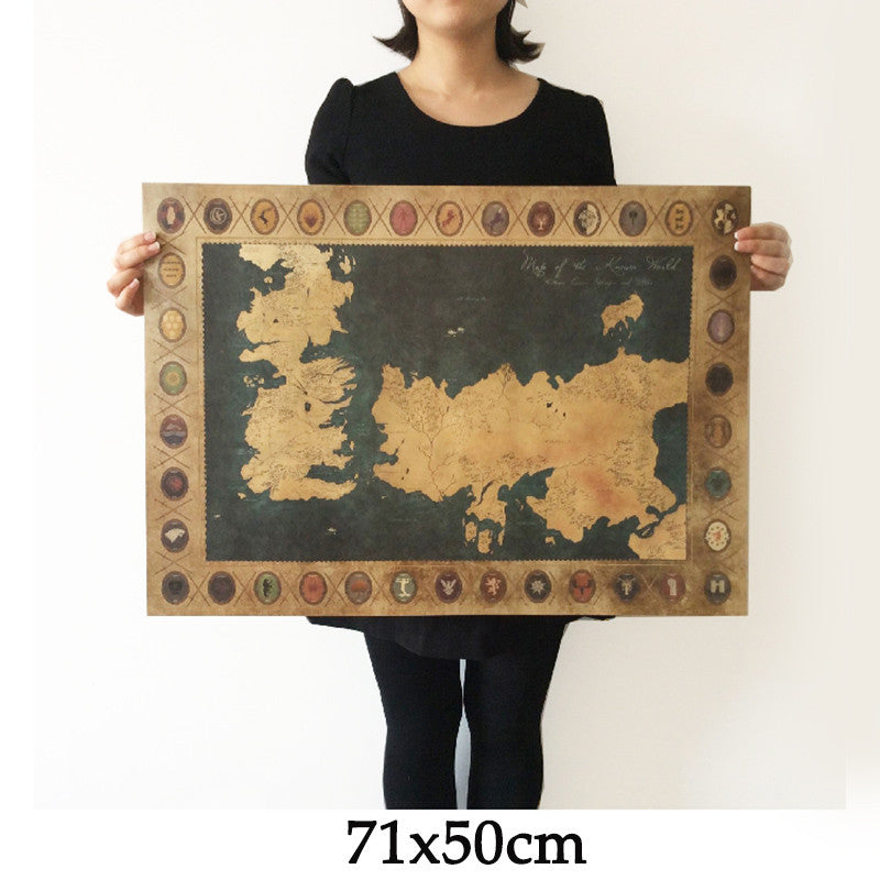 Vintage maps upcube game of thrones world map vintage kraft movie poster retro wall art crafts sticker living room gumiabroncs Image collections