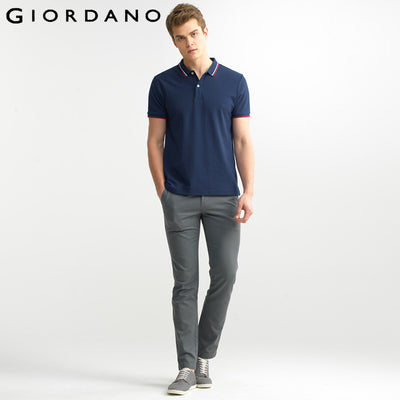 a753888c55de Giordano Men Branded Polo Shirt Short Sleeves Collar Solid Cotton Camisa  Polos Homme Clothing Chemmise Famous