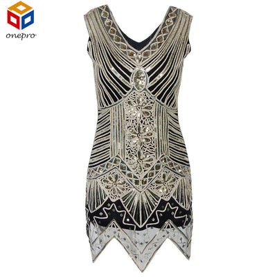 Glitter Woman V Neck 1920s Great Gatsby Dress Retro Art Deco Sequin Flapper  Party Mini Black cb3a2a92fc9e