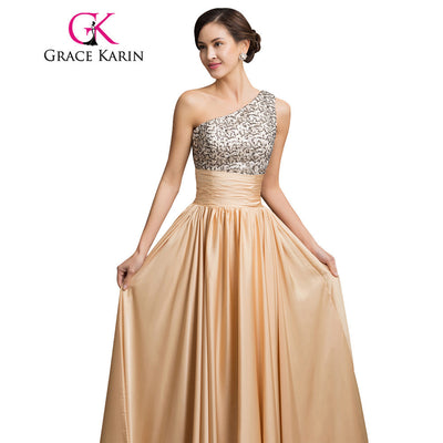 Grace Karin One Shoulder Sequin Formal Evening Dress Empire Elegant Long  Evening Gowns Night Party Dresses 2611064ea79e