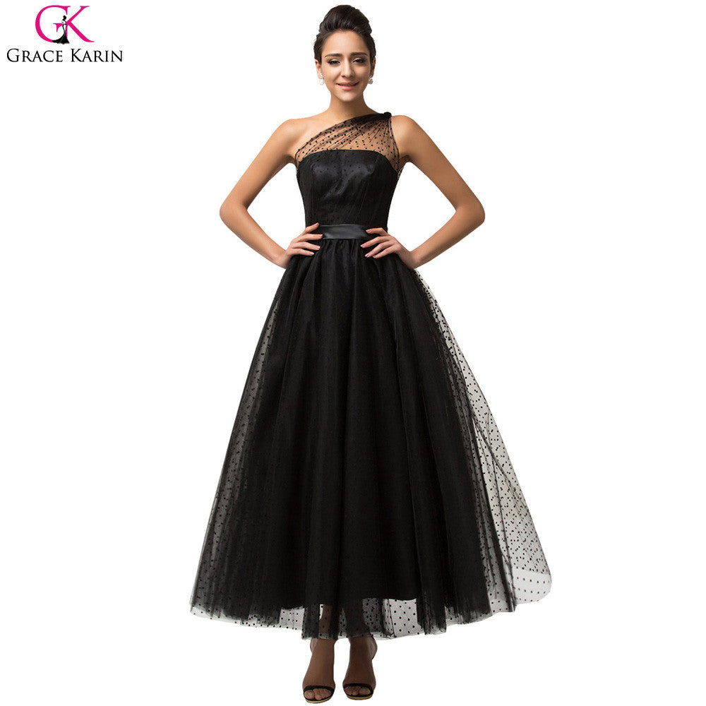 cfc03fc371 Grace Karin Prom Dresses Sleeveless Gothic Vintage Black One Shoulder  Formal Gowns Masquerade Tulle Tea Length