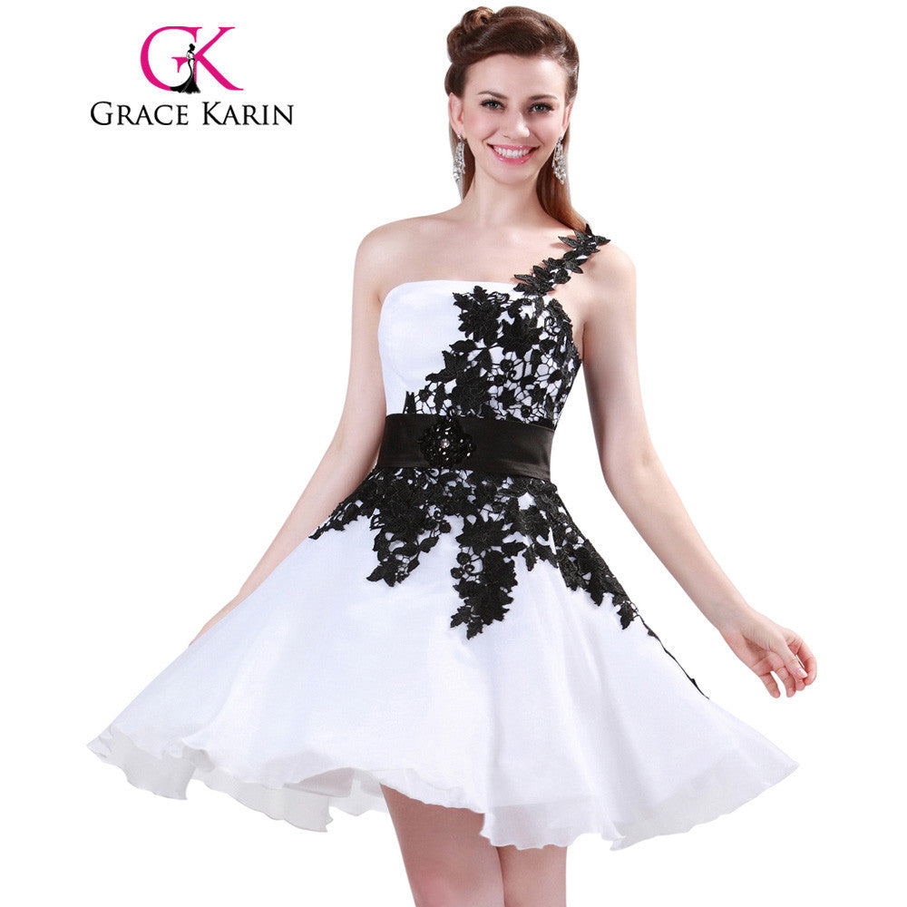 8d50d5e626b Grace Karin White and Black One Shoulder Lace Short Prom Dresses Ball Gown  Knee Length School