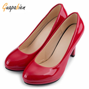 Guapabien Spring Casual Women Office Pumps Elegant Ladies Solid Shallow Mouth Round Toe Patent Leather Thick High Heel Shoes