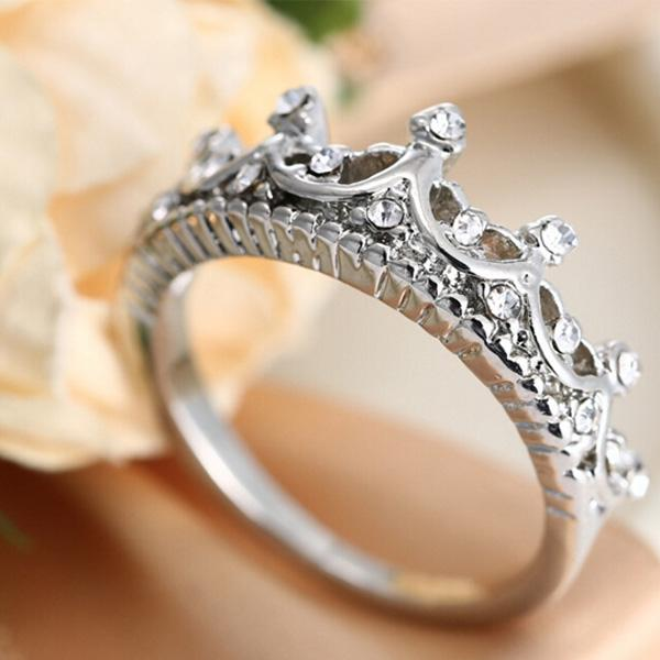 New Fashion Creative Crown Wedding Ring Diamond Ring for Women