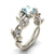 Fashion 925 Sterling Silver Floral Ring Transparent Aquamarine Diamond Jewelry Precess Bridal Engagement Party Rings Wedding Band Size 6 - 10