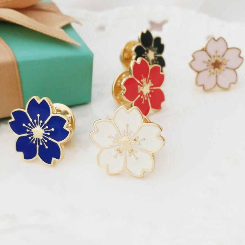 2 Pcs Cherry Blossoms Flower Drop Oil Alloy Brooches And Pins for Women Clothes Bags Decorations