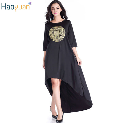 HAOYUAN Casual Kim Kardashian Dress Plus Size Sun Embroidery Loose Swa