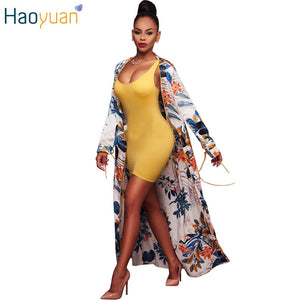 HAOYUAN Fashion Vintage Trench Coat Long Sleeve Cardigan Long Printed Chiffon Womens Coats 2017 Summer Casual Beach Trench Femme