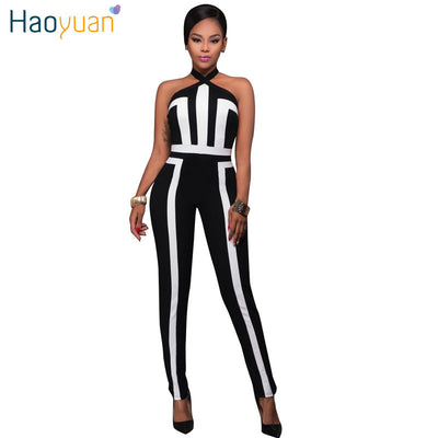 d6447ce834a4 HAOYUAN Rompers Womens Jumpsuit Sexy Off Shoulder Bodysuit Backless Jumpsuit  Overalls Black White Patchwork Striped Body