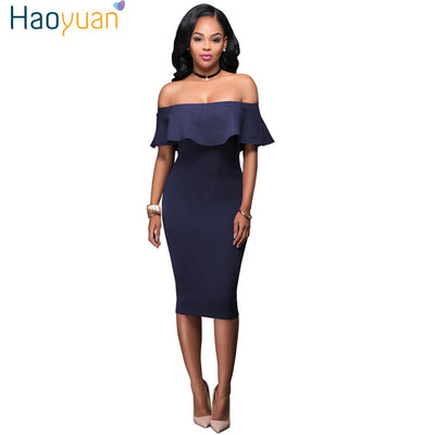 HAOYUAN Summer 2017 Women Off Shoulder Dress Vintage Ruffle Blue Wine Red  Sexy Bodycon Dress Club 02809e14b