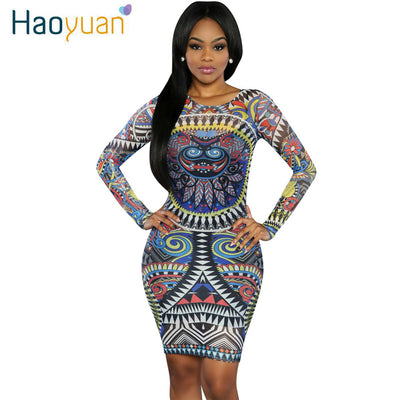 HAOYUAN Summer Sexy Club Dress Women Long Sleeve Bandage African Print  Dresses Dashiki Plus Size Clothing 2bcba3186