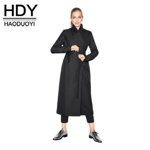 HDY Haoduoyi Fashion Drawstring Coats Women Long Sleeve Female Longline Outwear Street Solid Black Casual Trench Coats