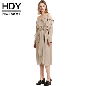 HDY Haoduoyi Fashion Drawstring Coats Women Long Sleeve Off Shoulder Female Longline Outwear Turn-down Collar Solid Trench Coats
