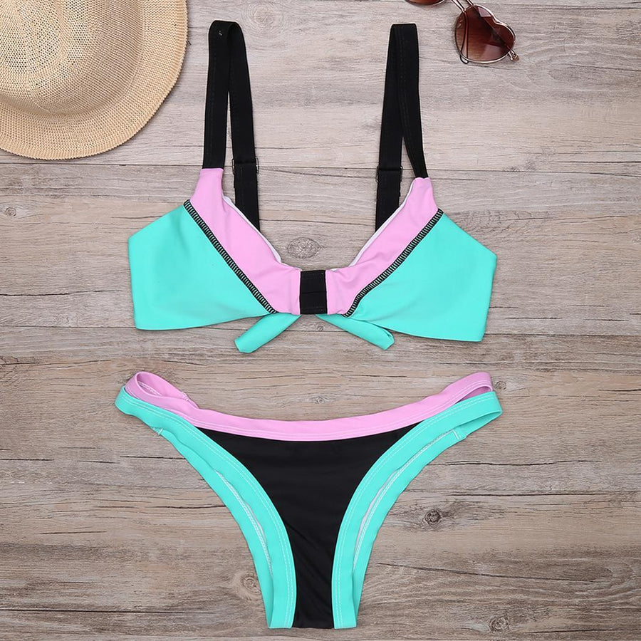 Color Set Bikini Tie Swimwear Cut Back High Contrast
