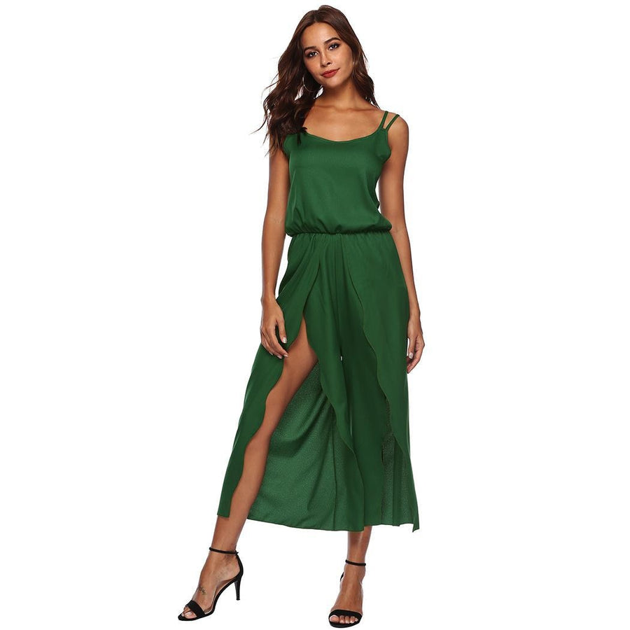 Casual Women Backless Cross Slit Spaghetti Solid Straps Middle Waist O-Neck  Romper Calf- 3a0f927fc338