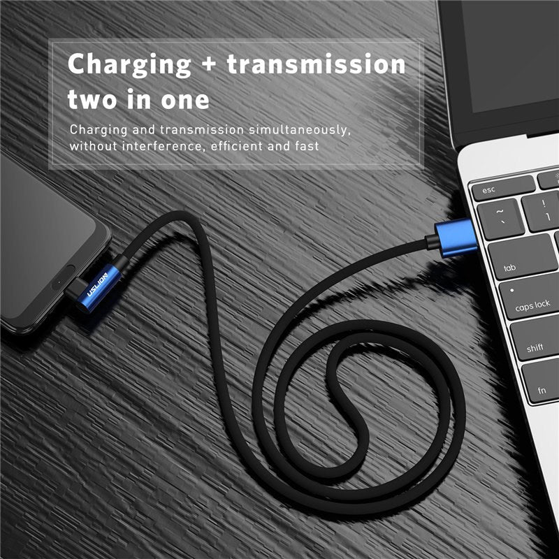 USLION Fast Charging Micro USB Cable 90 Degree Micro USB Charger Microusb Cord Data For Xiaomi Redmi Huawei Tablet USB Cable