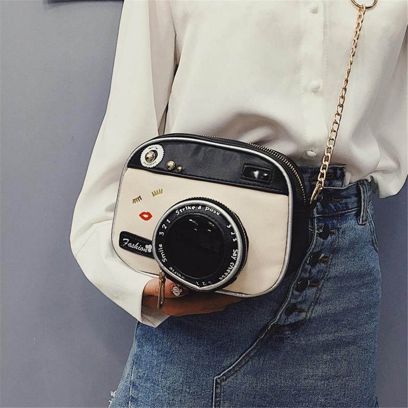 Women Elegant Chain Sling Shoulder Bag Chains Crossbody Messenger Hand Bags Retro Fashion Camera Shape Chain Mini Bag For Ladies