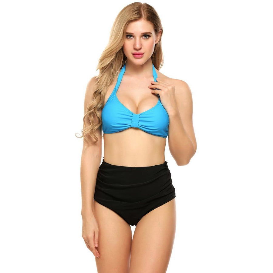 High Set Swimwear Halter Beach Waist Sexy Wear Women Bikini Knotted Swimming Pieces Two Suit Summer