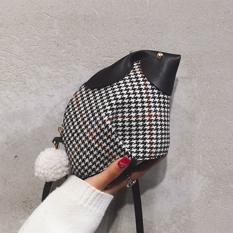 Rabbit Design Plaid Pu Fashion Casual Girl's Chain Purse Crossbody Mini Messenger Bag Clutch Bag Handbag For Women Flap Totes