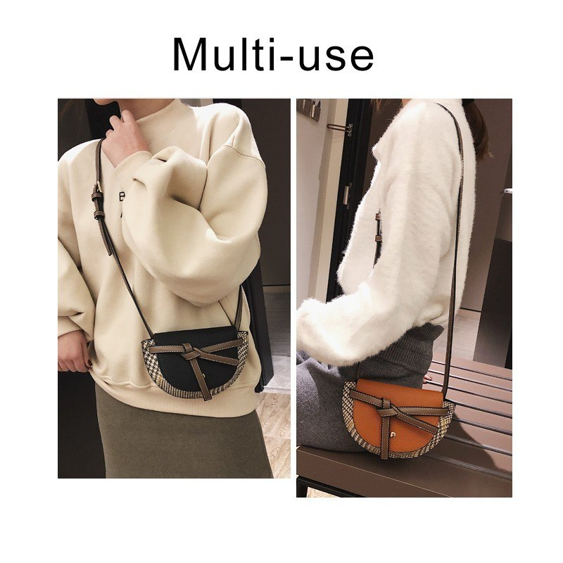 Herald Fashion Women's Plaid Messenger Bag Leather Female Shoulder Bags Crossbody Bag For Girls Evening Clutche Bolsas Feminina