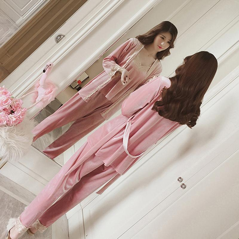 2019 New Three Piece Female Sexy Silk Pajamas Set Robe Sling Pajamas Long Sleeved Pants Women Nightgown 4 Color Sleepwear