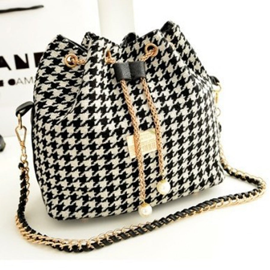 NEW Bohemia Canvas Drawstring Bucket Bag Lady Chains Messenger Shoulder Bags Vintage Women's Handbags Bolsa Feminina Bolsos