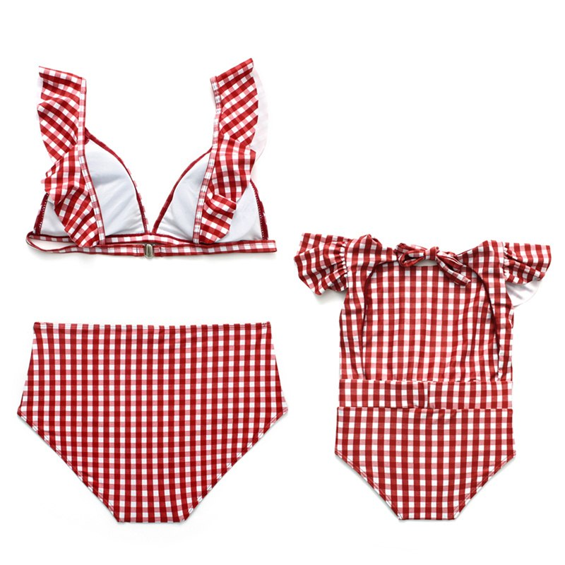 Family Matching Swimwear Women Bikini Set Toddler Kid Baby Girls Bodysuit Plaid Bathing Suit Beachwear Swimsuit