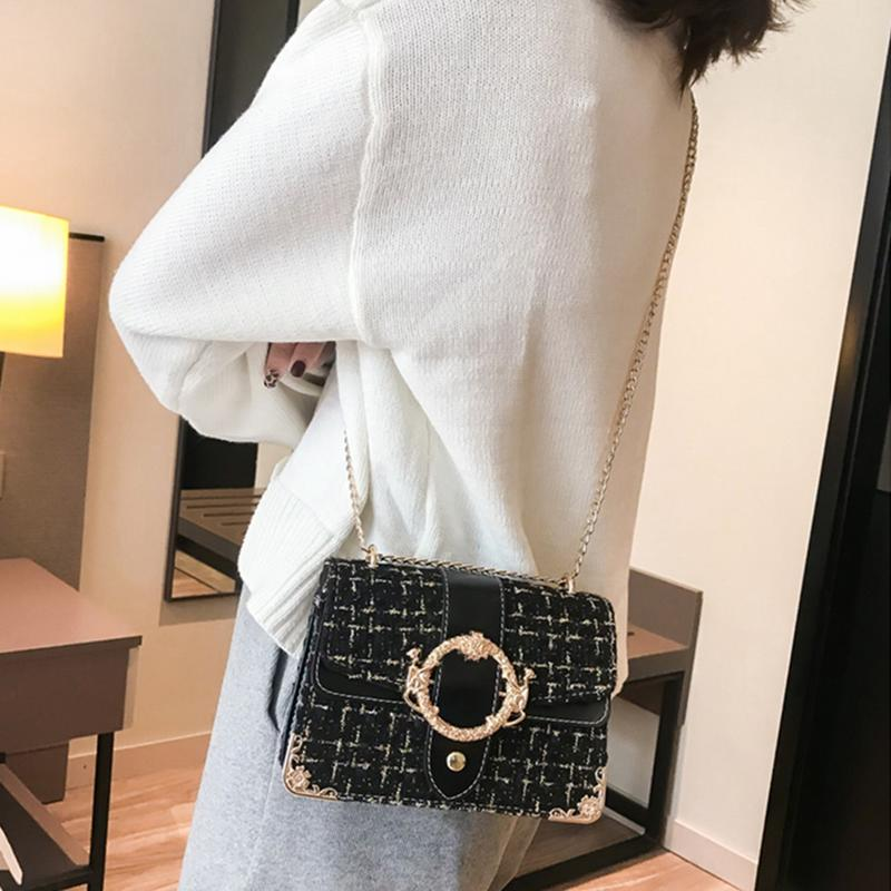 Women Sling Chains Shoulder Bag Messenger Woolen Korean Fashion Crossbody Chain Metal Square Buckle Hand PU Bags Handbag Clutch