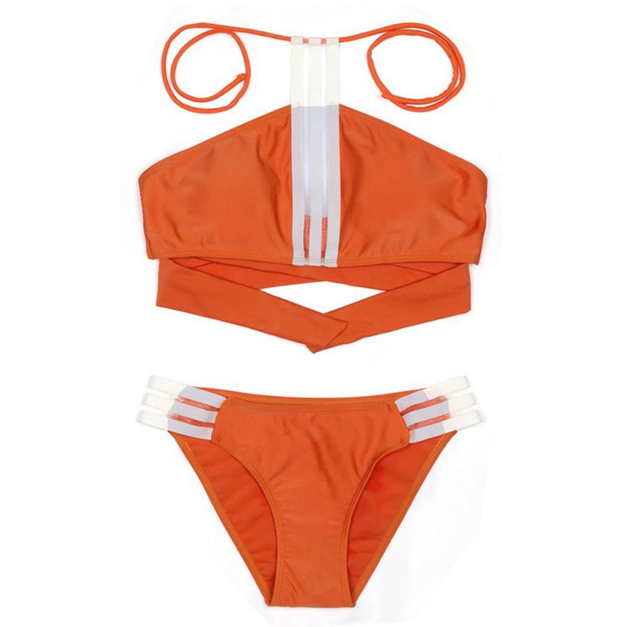 Beach Swimming Bikini Criss Patchwork Set Halter Free Cross Pieces Padded Wire Two Hollow Yes Stripes Pool Sexy Women