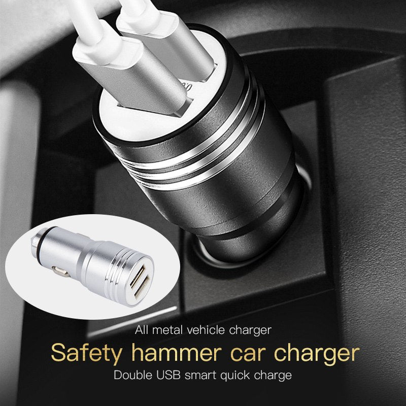 Mini USB Car Charger Adapter 2.1A Dual Port Alloy Fast Charger for iPhone Samsung Xiaomi Huawei HTC Tablet Mobile Phone Charger