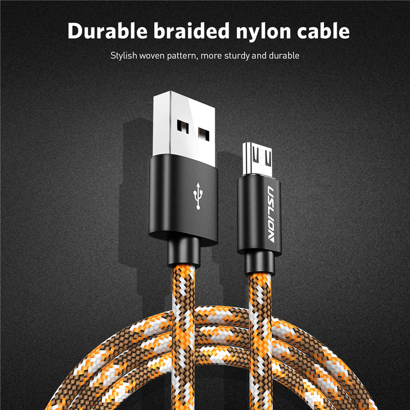 USLION Micro USB Cable Fast Charge USB Data Cable for Samsung One Plus Xiaomi LG Tablet Android Mobile Phone USB Charging Cord