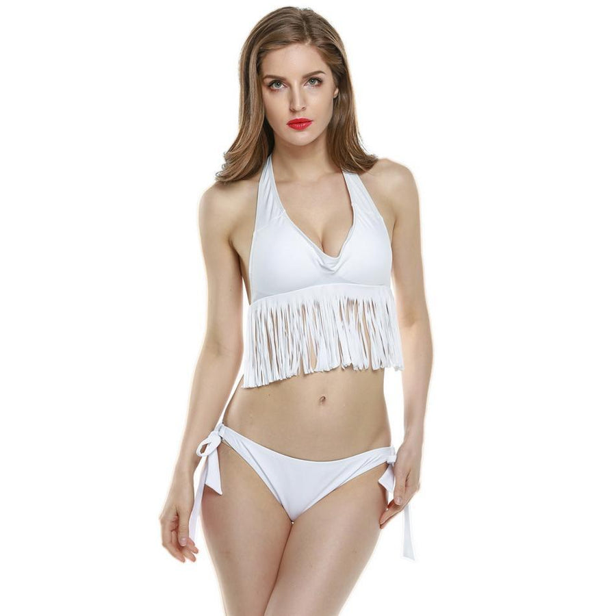 84cm  Swimwear Halter  58cm Bikini Women Height 175cm 89cm Swimsuit Sexy Suit Bust Tassel Bathing Hip Waist Set